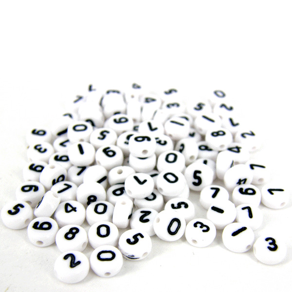 100 x 4 x7mm plastic black and white assorted number beads for Circle letter beads