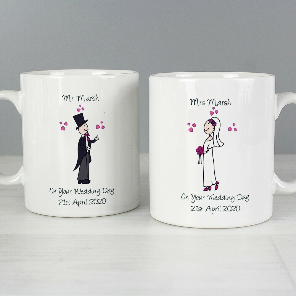 Personalised Wedding Gifts For Bride And Groom Singapore : Personalised Wedding Day Mugs SetBride and Groom Mr & Mrs ...