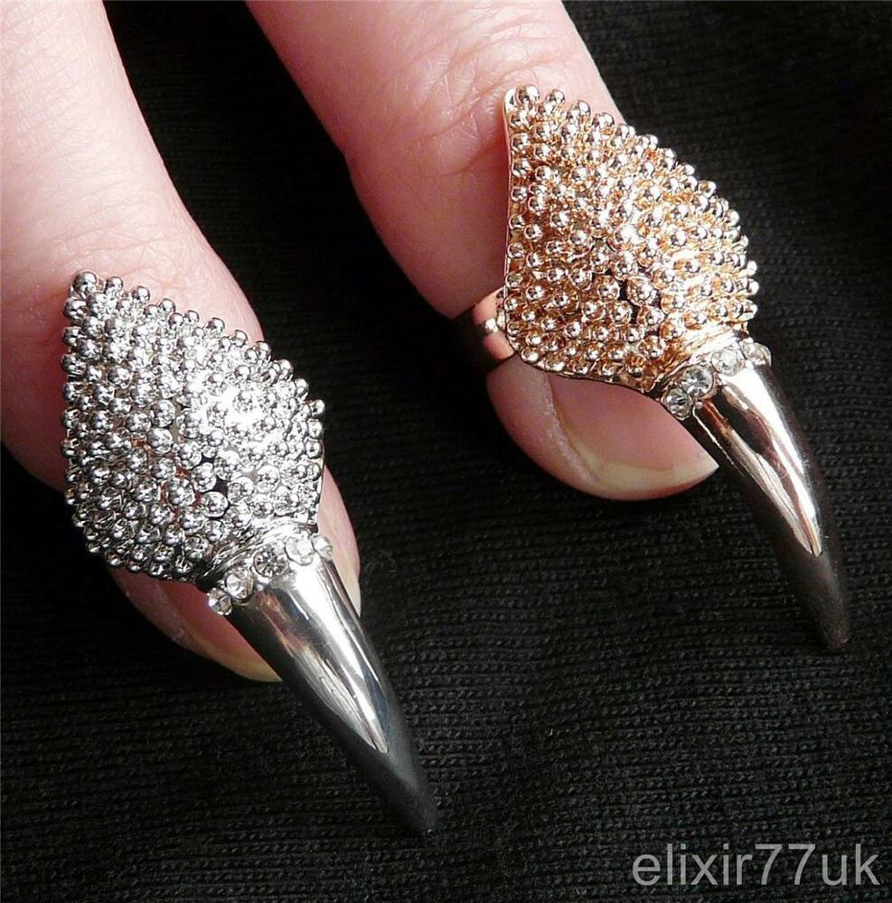 Finger Nail Art: NEW SILVER GOLD DIAMANTE NAIL ART FINGER TIP RING CLAW