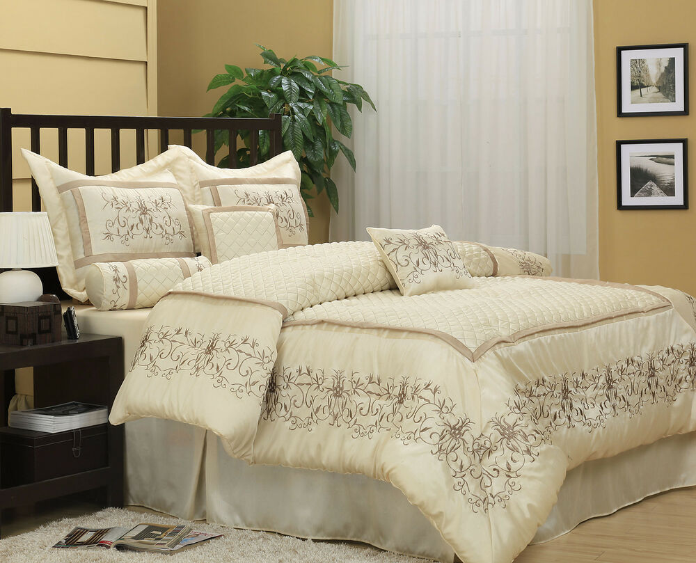 Comforter set bed in a bag quilted 7 piece luxury off white ebay