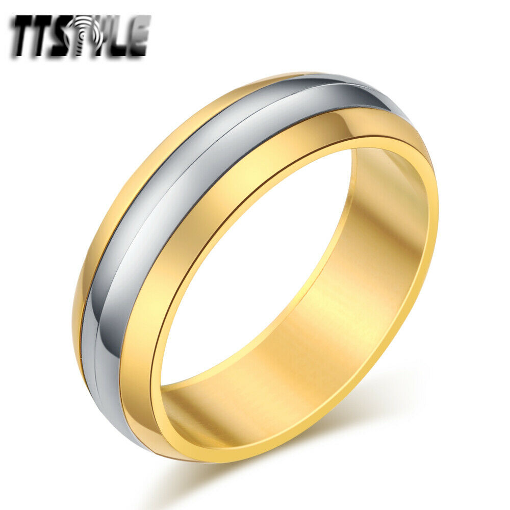 ttstyle two tone stainless steel spinner wedding band ring