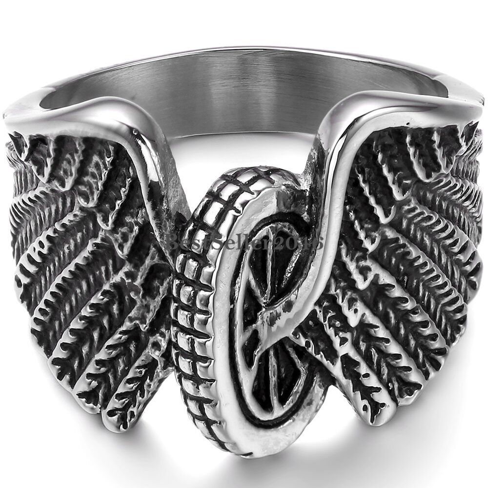 Gothic hawk eagle wing motorcycle wheel biker army men 39 s for Biker jewelry stainless steel