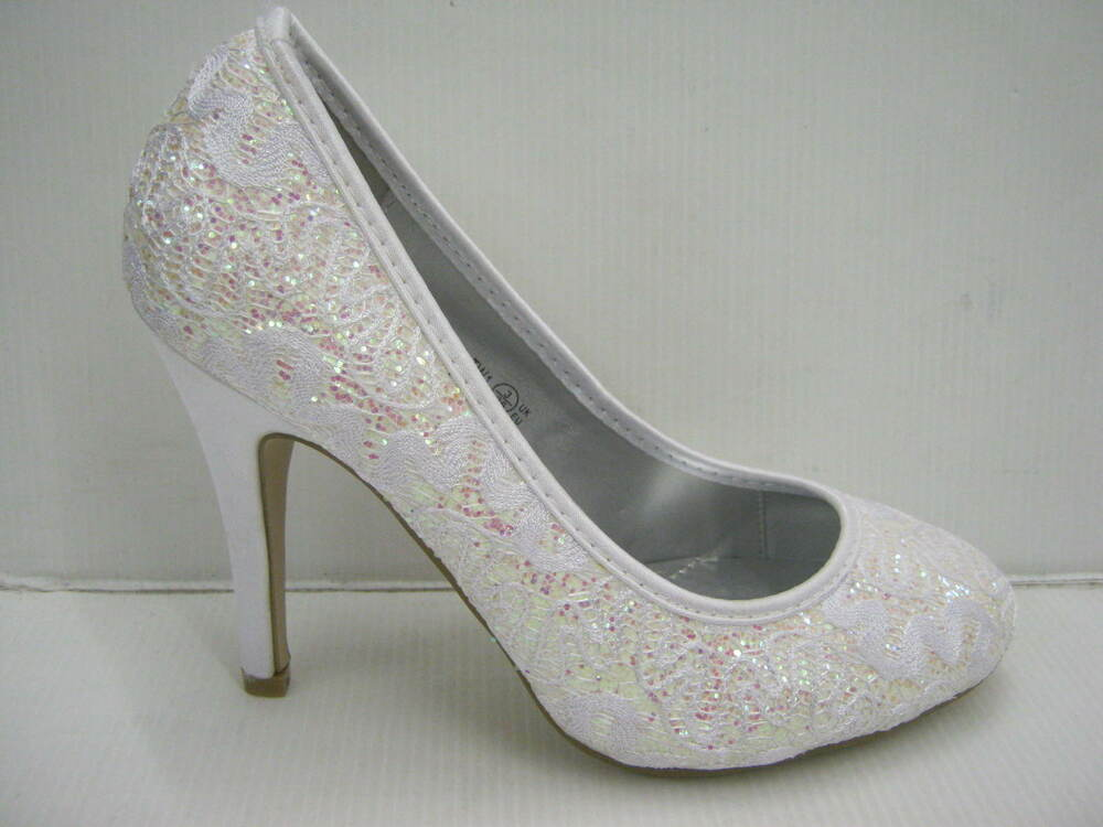 white sparkle and lace effect court shoe