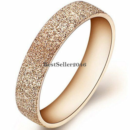 rose gold stainless steel womens girls matte engagement ring wedding