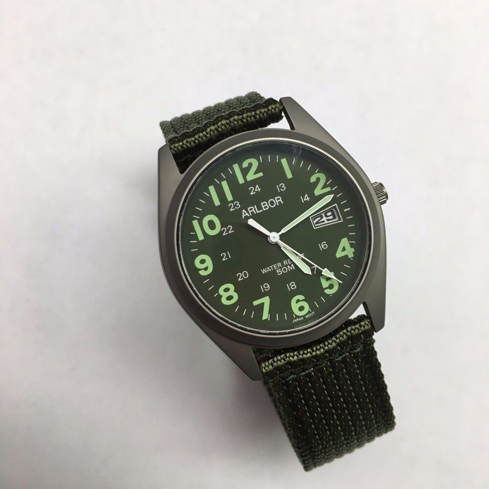 Arlbor Military Style Watch Citizen Movement Army Green ...