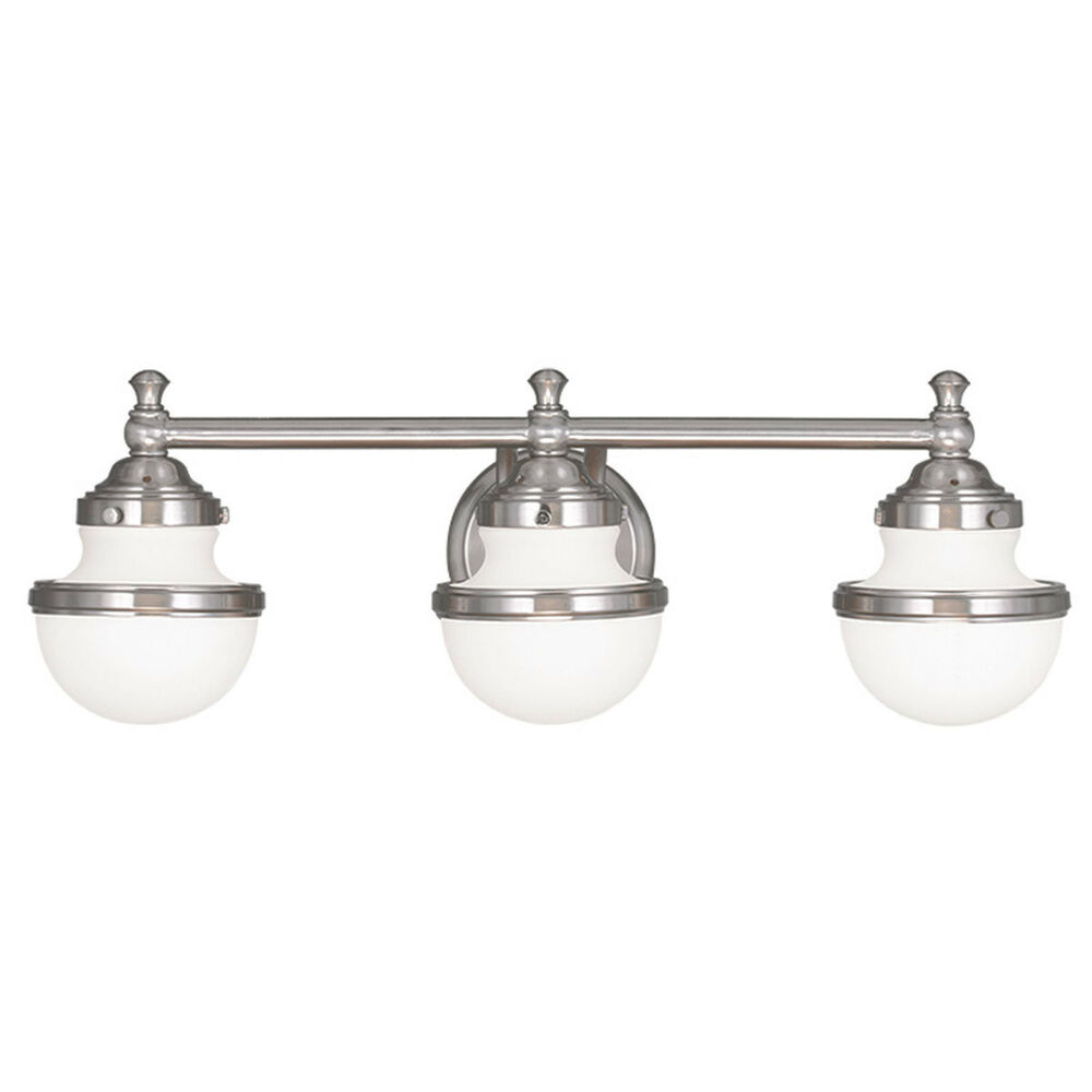 Livex oldwick modern brushed nickel 3 light bathroom for Bathroom 3 light fixtures