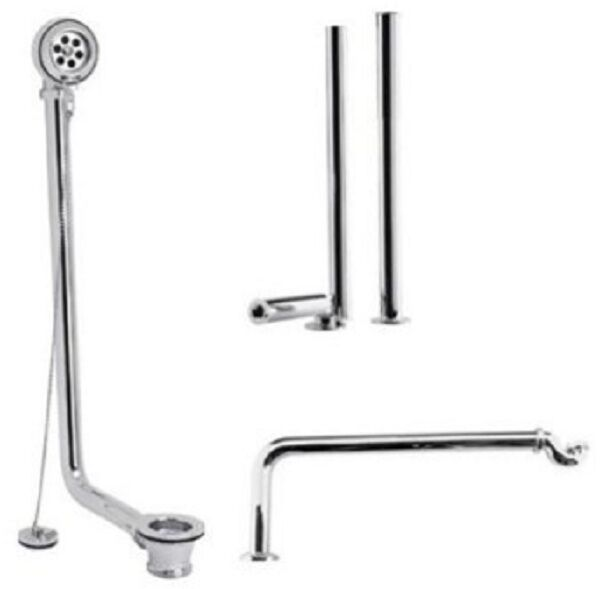 CHROME FREESTANDING ROLL TOP EXPOSED BATH WASTE KIT SHROUDS TRAP PIPE PLUG ME