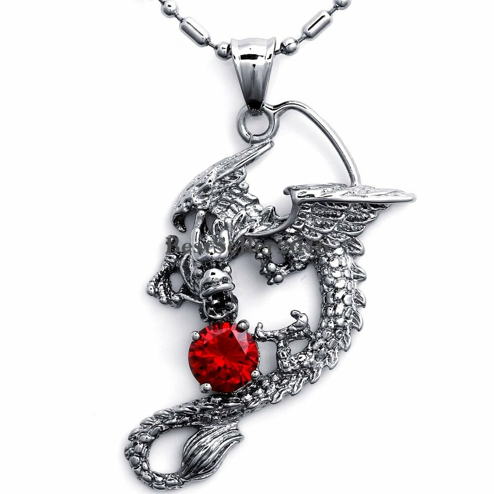 Silver stainless steel mens dragon pendant necklace cubic for Dragon gifts for men