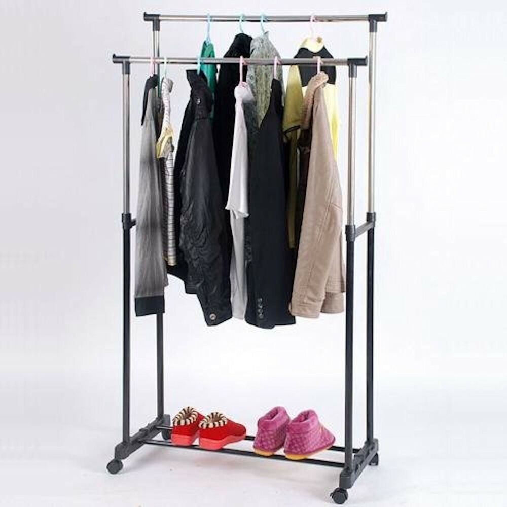 garment_Adjustable Double Rod Garment Rack on Wheels, Heavy Duty New | eBay