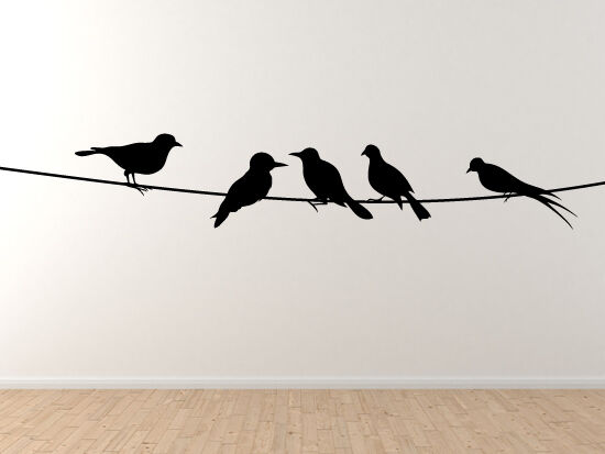 Wall Art 3 Line Of Birds : Birds on a wire telephone power line hanging out