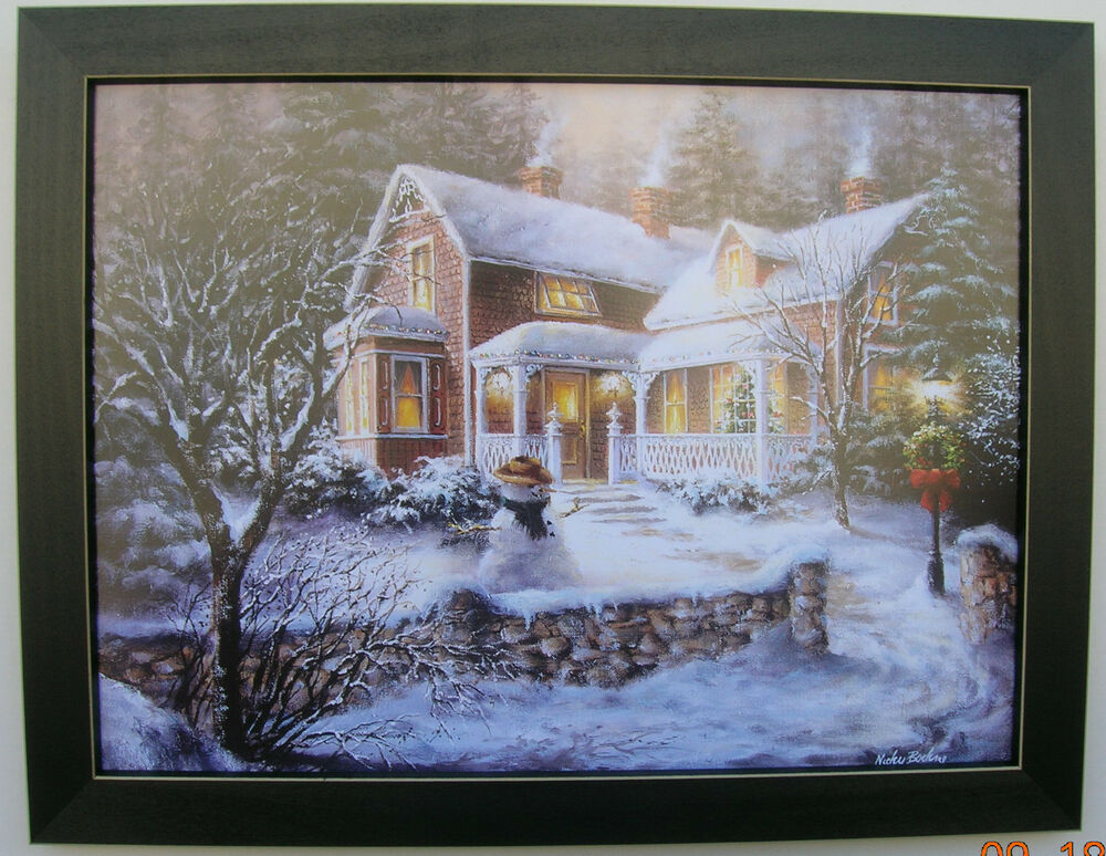 Snowman Pictures Christmas Snow Print Framed Country ...