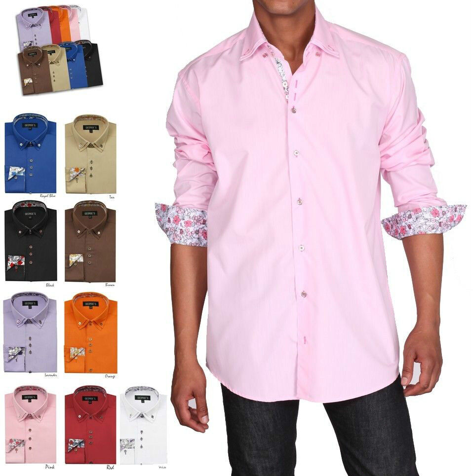 Men 39 s high quality dress shirt solid color 9 colors size for Size 15 dress shirt