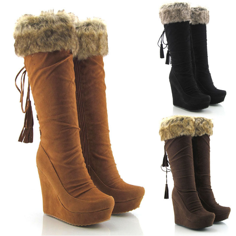 WOMENS FAUX SUEDE ZIP KNEE HIGH PLATFORM HIGH HEEL WEDGE BOOTS ...