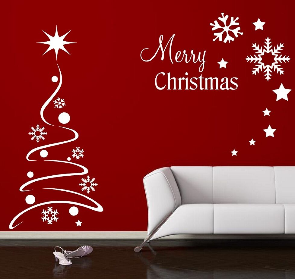 Christmas Wall Decoration Ideas For Office : Christmas tree wall sticker window quote
