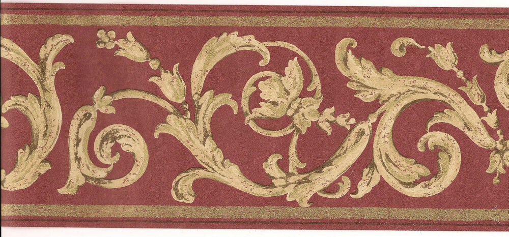 Wall Border Classic Design Burgundy Gold Wallpaper S A