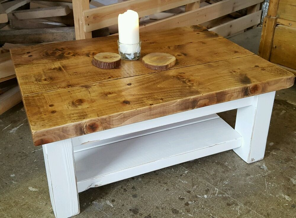 Shabby chic Rustic pine coffee table hand painted with