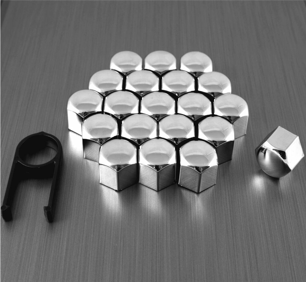 20 17mm chrome alloy wheel nut bolt covers caps universal Mercedes benz wheel nuts