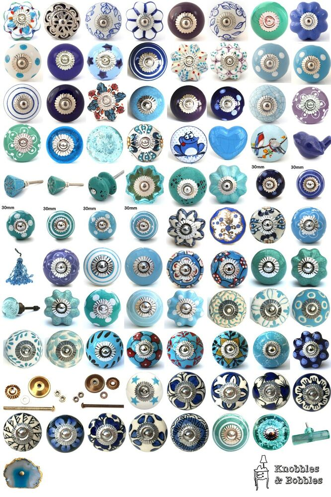 Blue Purple Turquoise Ceramic Knobs Drawer Pulls Cupboard