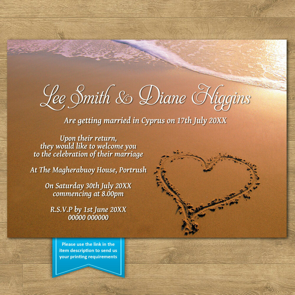 Personalised Day Evening Wedding Invitations Beach Heart In Sand Married Abroad