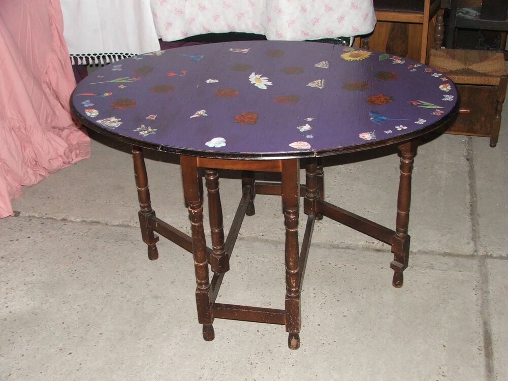 Details About Oak Gateleg Table With Painted Decoupage Top