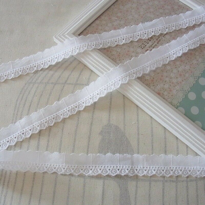 Yards embroidery scalloped cotton fabric eyelet lace