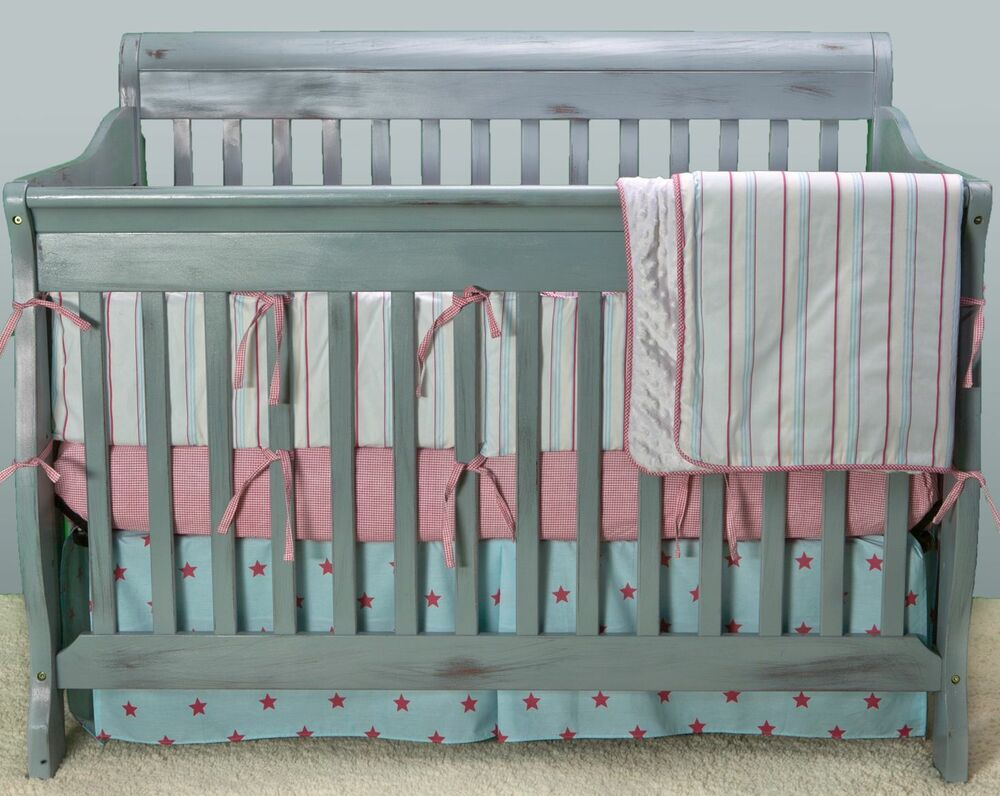 clearance sale kress co and stripes baby boy 9 crib bedding set ebay