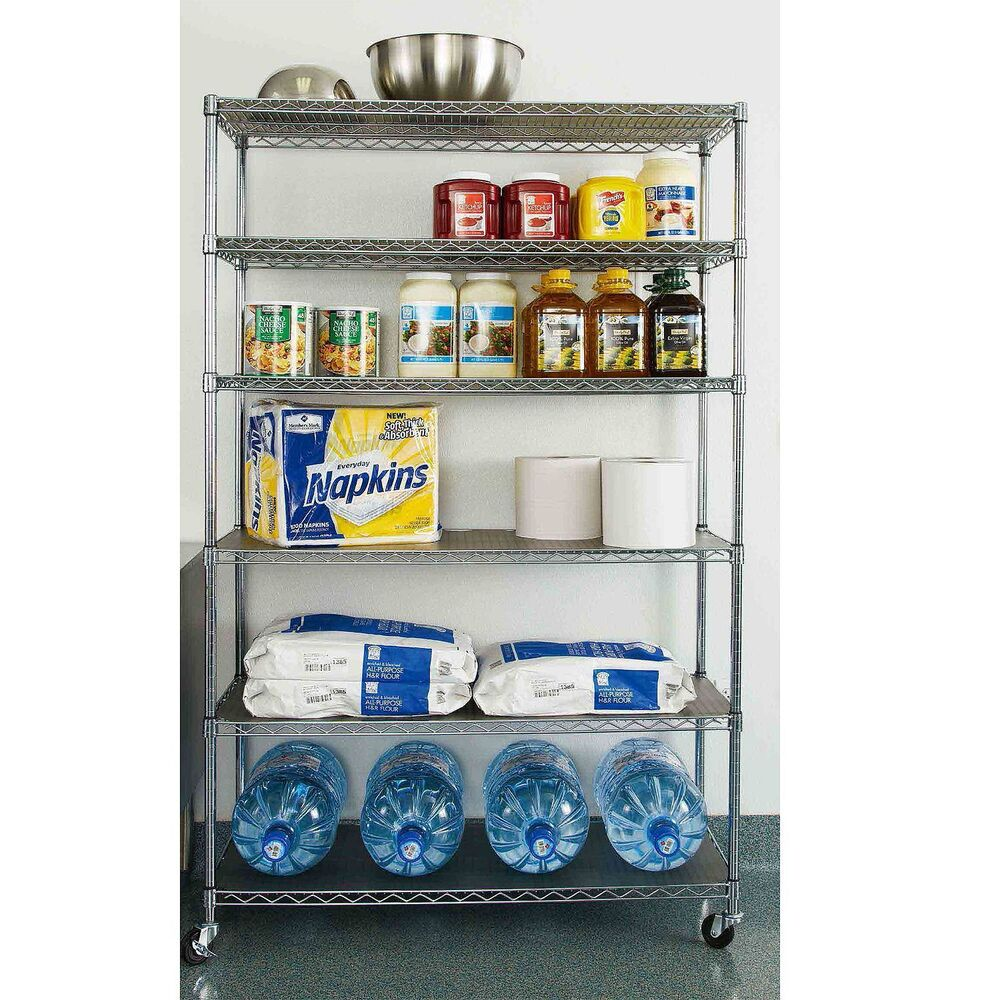 Commercial Steel Rolling Storage Shelving Rack Metal Wire Shelf 3 Caster Chrome 17641994971 Ebay