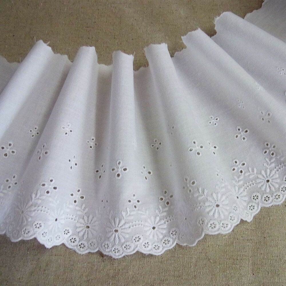 Yard embroidery scalloped cotton fabric eyelet lace trim