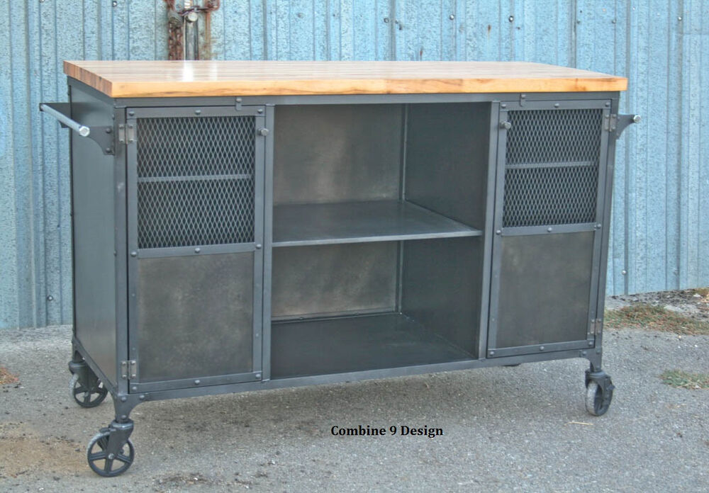 Vintage Industrial Bar Cart Kitchen Island Mid Century