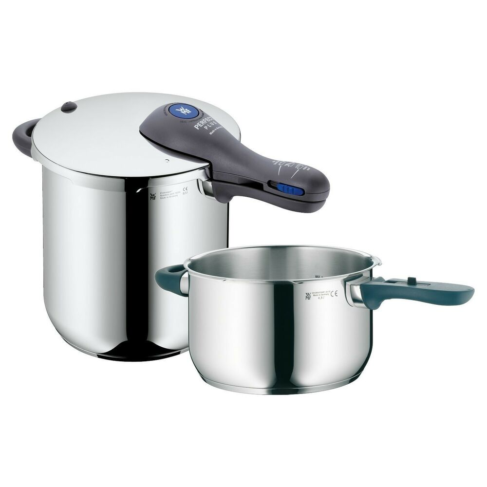 wmf perfect plus 3 pc pressure cooker set 18 10 stainless steel 8 5 qt 4 5 qt ebay. Black Bedroom Furniture Sets. Home Design Ideas