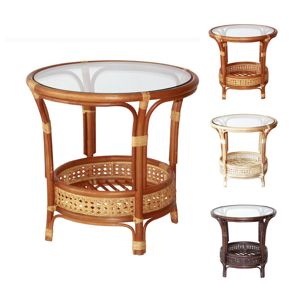 Pelangi Handmade Rattan Wicker Round Coffee Table With Glass Top Tropical Style Ebay