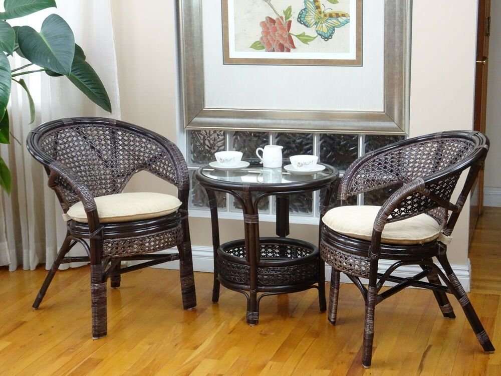 pelangi rattan wicker lounge set of 2 chairs w cushion and round coffee table ebay. Black Bedroom Furniture Sets. Home Design Ideas