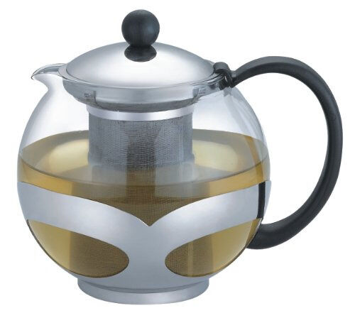 Stainless steel glass tea pot teapot w strainer 1200 ml 5 - Cup stainless steel teapot ...