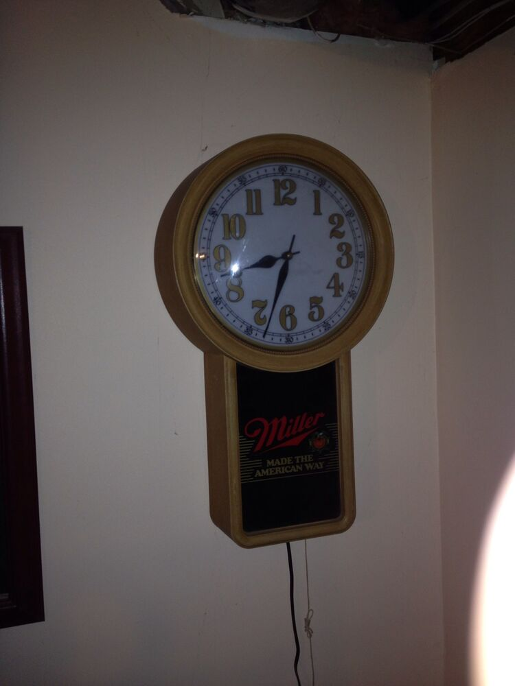 Miller Beer Illuminated Wall Clock Ebay