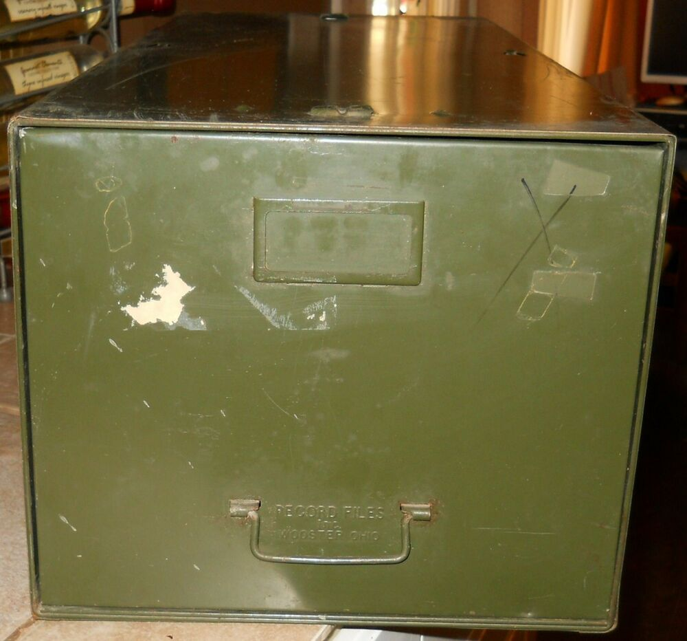 Vintage Industrial Metal Steel Green File Cabinet~Record