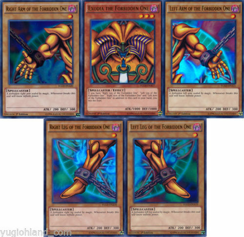 Yugioh 1st Edition Exodia The Forbidden One 5 Card Set W
