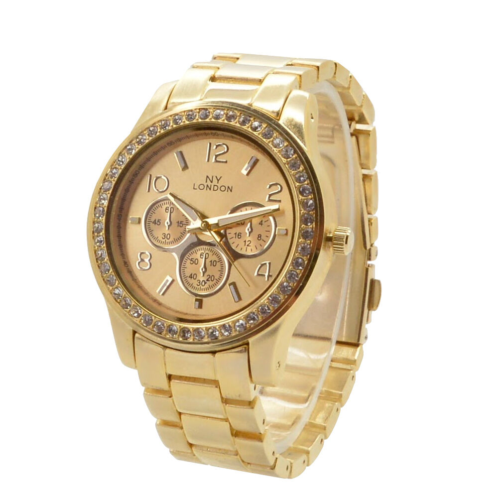 Gold fashion women 39 s crystal luxury steel wrist designer watch celebrity ebay for Woman celebrity watches