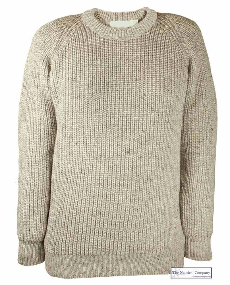 NEW Men Fishermans Jumper Oatmeal Chunky Knit 100% Wool Sweater S M L XL...