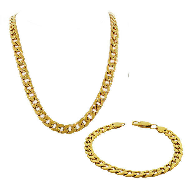 Stainless Steel Yellow Gold Mens Classic Cuban Link Chain