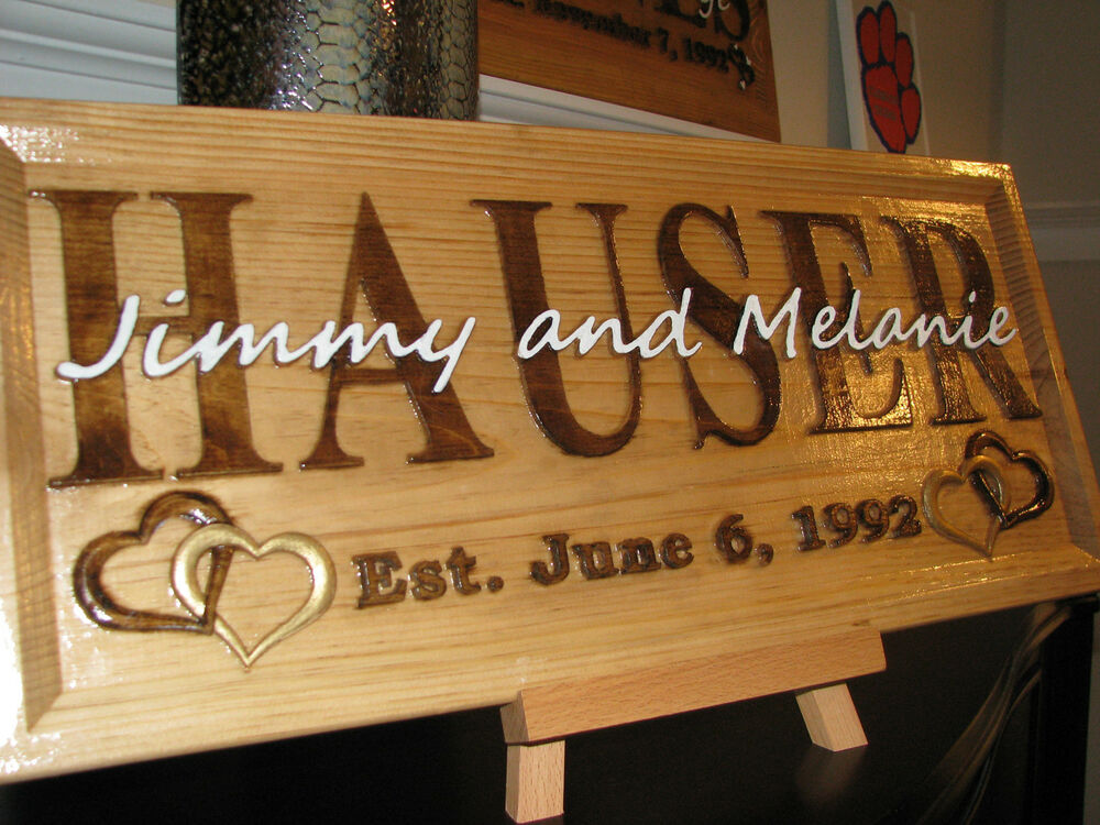 Personalized family last and first name custom carved wood