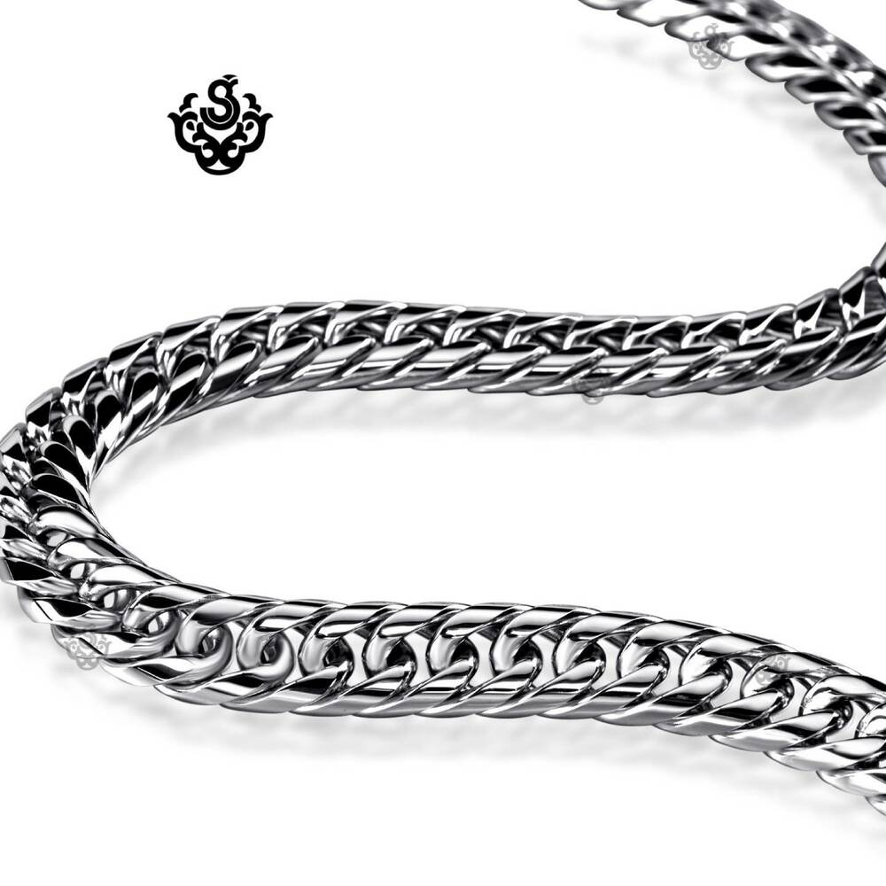 silver necklace solid stainless steel miami cuban link. Black Bedroom Furniture Sets. Home Design Ideas