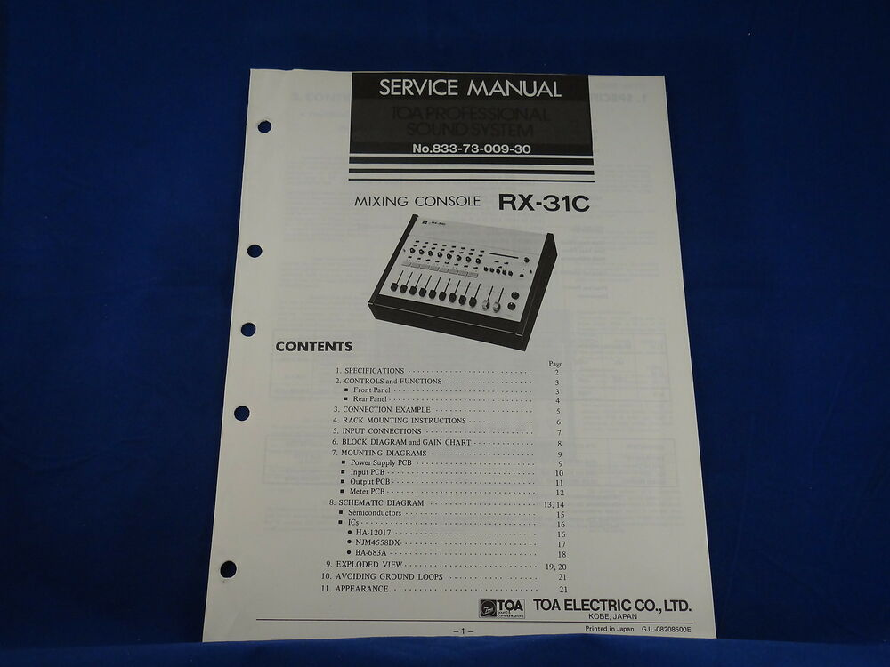 Toa rx 31c mixing console service manual ebay for Consol service