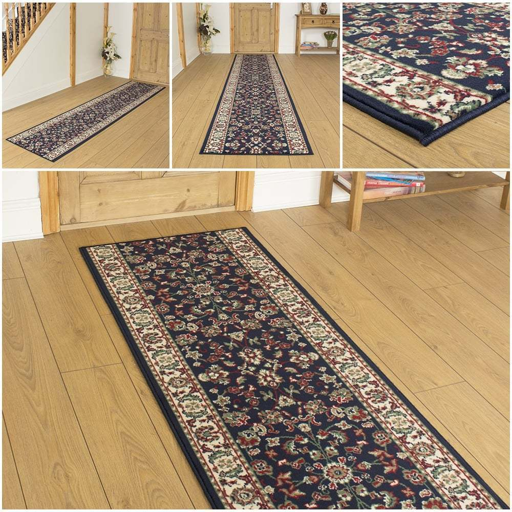 persian d blue hallway carpet runner rug traditional hall extra long cheap ebay. Black Bedroom Furniture Sets. Home Design Ideas