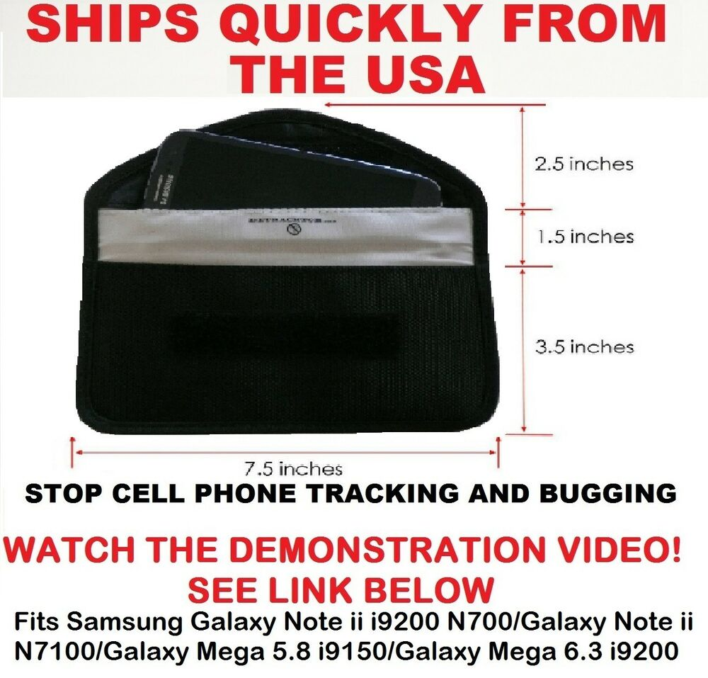 Large Cell Phone Wallet/Pouch Blocks Signals Stops Cell Phone Tracking ...