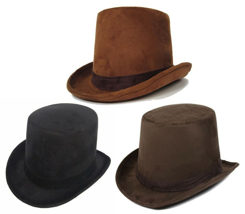 6ad0dba0578 Details about Adult Men s Coachman Steampunk Victorian Top Hat Dickens  Caroler Brown Black