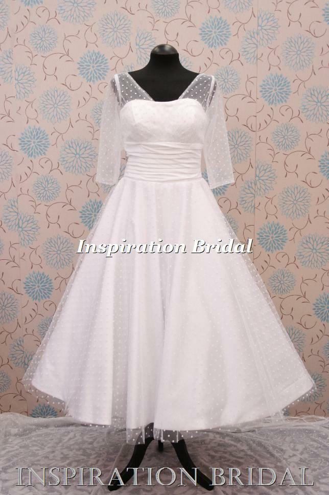 1340 short tea length knee wedding dresses sleeved polka for Ebay wedding dresses size 12