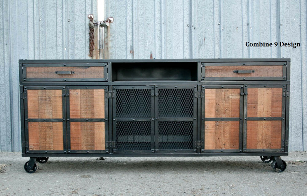Reclaimed Wood Media Console Credenza Mid Century Modern