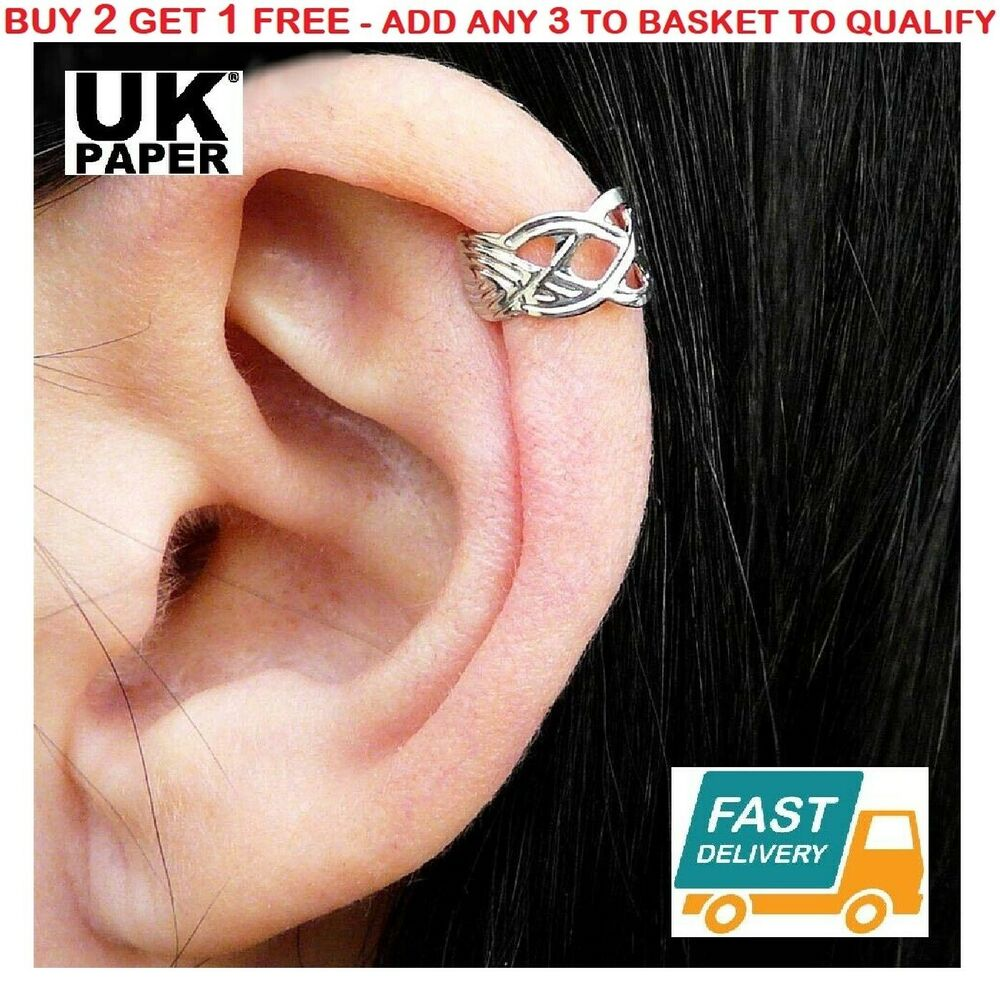 helix cuff earrings new silver knot criss cross ear cuff helix cartilage 7094