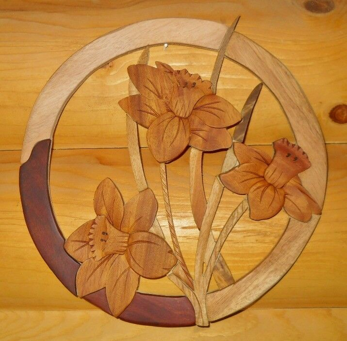 Daffodil Bouquet Intarsia Wood Art Wood Decor Wall Hanging NEW eBay