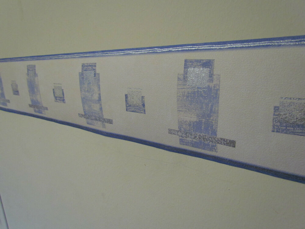 Wall border classic box design cream blue silver 5m for Home wallpaper ebay